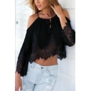 Sexy Women's Lace Chiffon Hollow Out Design Crop Top
