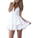 Women Sexy Deep V Neck Spaghetti Strap Pleated Ruffle Short Skater Mini Dress