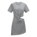 Sexy Cut Out Waist Short Sleeve Midi Dress