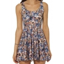 Fashionable Cat Printed Sleeveless Tank A-line Mini Dress