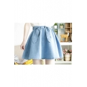 Sweet Plain A-Line Denim Mini Skirts