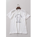 Hot New Release Round Neck Short Sleeve Cat Print Casual Tee