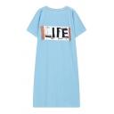 Women's Fashionable Letter Print Short Sleeve Maxi Dress