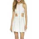 Cut Out Design Sexy Zipper Front Round Neck Sleeveless A-Line Mini Dress