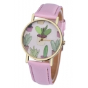 Cactus Pattern Young Style Casual Leather Quartz Water Resistance Watch