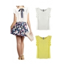 Ladies Summer Loose Casual Chiffon Ruffles Sleeve Vest Shirt Tops Blouse