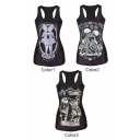 Skull&Cat Couple&Pretty Girl Print Black Tanks