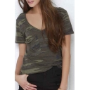 Boyfriend Style V-Neck Short Sleeve Camo Slim Fit Tee