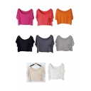 Women Basic Solid Loose Summer Blouse Crop Tops