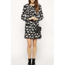 Personality Cute Cat Print Round Neck Long Sleeve Shift Mini Dress