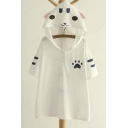Cute Cat Print Hooded Short Sleeve Loose Tee