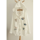 Popular Summer Sunscreen Casual Hooded Button Down Long Sleeve Chic Thin Coats With Lace Embellish