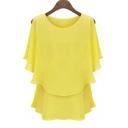 Women's Plus-size Double Layers Chiffon Shirt Top