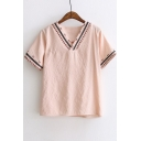 Special Trim Embroidery V-Neck Short Sleeve Casual Top
