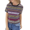 Women's Tops Vintage Totem T shirt Tribal Short Sleeve Crop casual