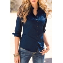 Women Fasional Slim Shirt V Neck Long Sleeve Button-down Blouse