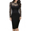 Women's Retro Black Lace Bateau Neck Formal Vintage Bridesmaid Dress