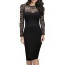 Women's Retro Black Lace Bateau Neck Formal Vintage Bridesmaid Dress