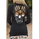 Trendy Cut Out Skull Shape Back Long Sleeve Cardigan