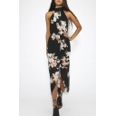 Summer Floral Print Split Front Chiffon Maxi Dress