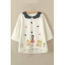 Girl's Sweet Lapel 3/4 Sleeve Colorful Cartoon Print Top