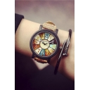 Trendy Color Block  Dial Leather Strap Watch