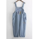Funny Pencil Embroidery Casual Denim Overall Pants