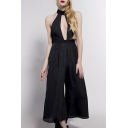 Women's Sexy Halter Keyhole Front Wide Leg Jumpsuits