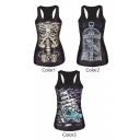 Skeleton&Boat&Cage Print Black Tanks