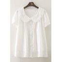 Chic Lapel Short Sleeve Button Down Cute Top