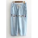 Special Style Cartoon Embellish Drawstring Waist Denim Crop Pants Crop Jeans