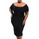 Women's Off Shoulder Tassel Plus Size Bodycon Dress