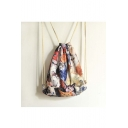 Women's Eco-Friendly Drawstring Backpack with Cat Print