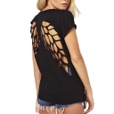 Summer Scoop Neck Lazer Cut Angel Wings Short Sleeve Casual Tops T Shirt