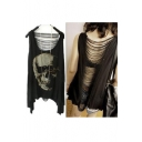 Women Vintage Punk Style Skull Open Back Tassel Tank Top Vest