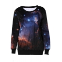 Cool Fashion Round Neck Long Sleeve Galaxy Pattern Sweatshirts
