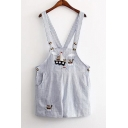 Cartoon Embroidery Striped Chic Overall Shorts