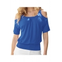 Women's Casual Cold Shoulder Tops Short Sleeve T Shirt