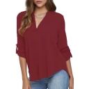 Women Chiffon Blouse V Neck Short/Long Sleeve Top Shirts
