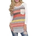 Women Loose Stripes Lace Pocket O-neck Shirt Tops Blouses