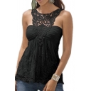 Women Lace Floral Sleeveless Halter Backless Vest Top Blouse
