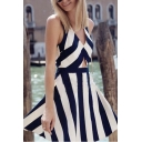 Sexy Women's Sleeveless Striped Cut Out Design A-Line Mini Dress