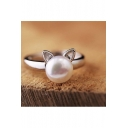 Women Cute Pearl Silver Ring