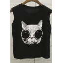 Fashionable Cartoon Cat Sleeveless Round Neck Top