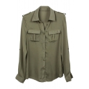 Women Army Green Shirt Sexy Fashion Loose Shirt Casual Shirt Clothes