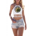 Halter Cross Hollow Boho Bandage Camis Crop Top