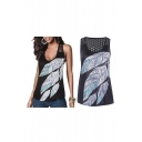 Sexy Women Feather Printed Vest Top Sleeveless T-Shirt