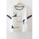 Fashion Cat Print Round Neck Short Sleeve T-Shirts