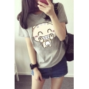 Funny Cartoon Cat Print Round Neck Short Sleeve Chic Tee