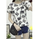 Fashion Round Neck Short Sleeve Cat Print Casual Tee